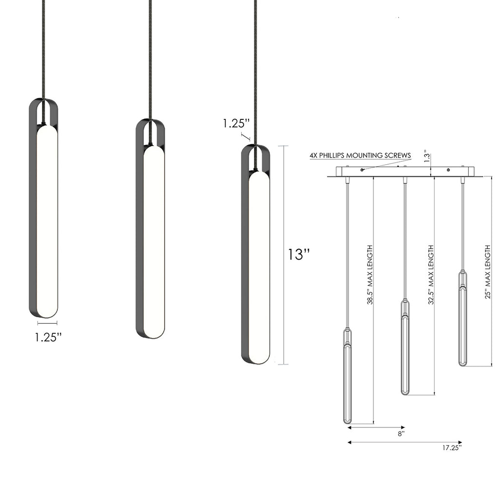 LUX LED Triple Pendant Light with design dimensions - Highline Collection