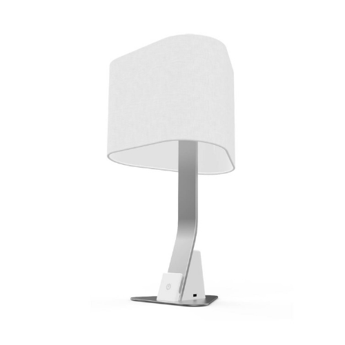 Brushed aluminum Brooklyn LED desk lamp with linen shade and touch control