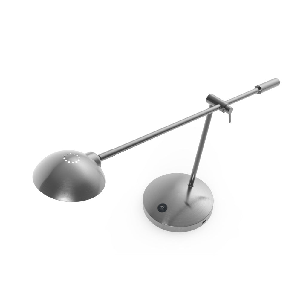 aerial view of brushed nickel LED table lamp with adjustable rocker arm