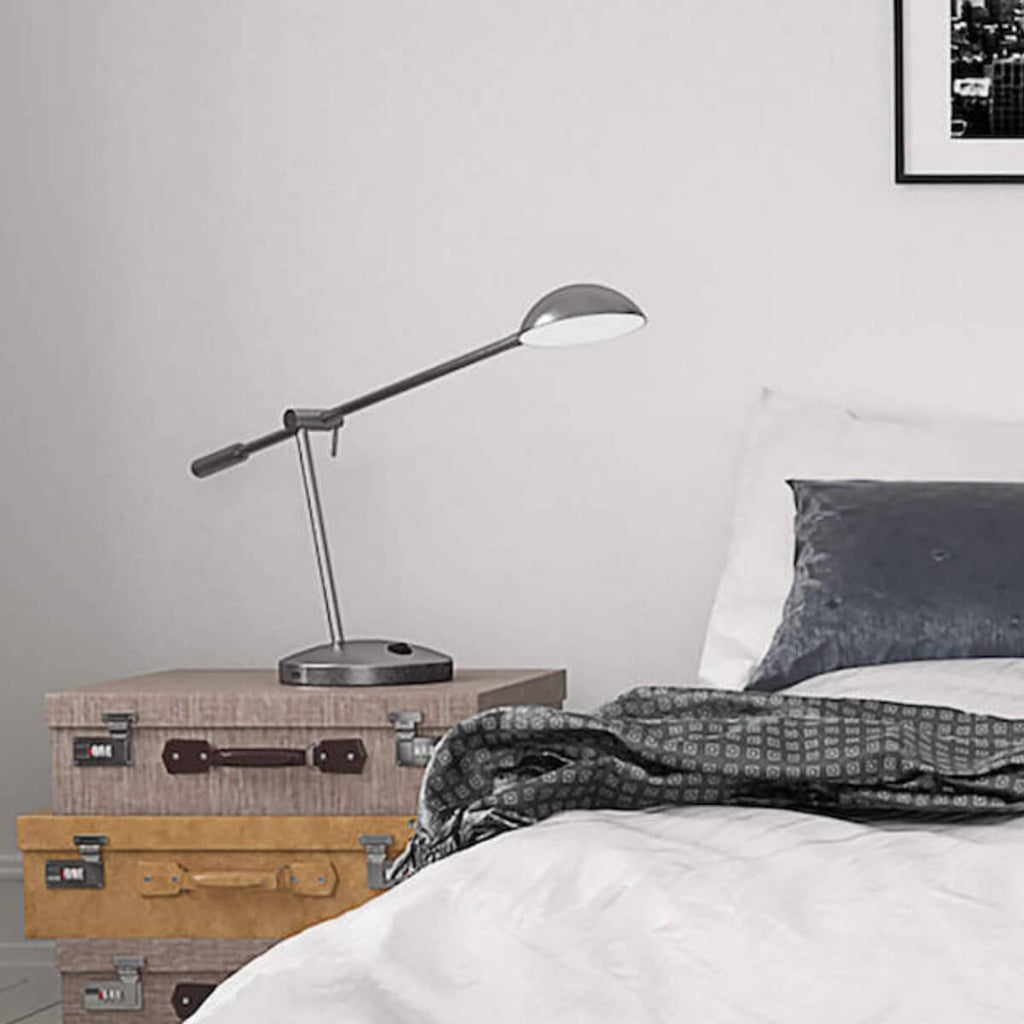 Lincoln LED table lamp in brushed nickel in bedroom