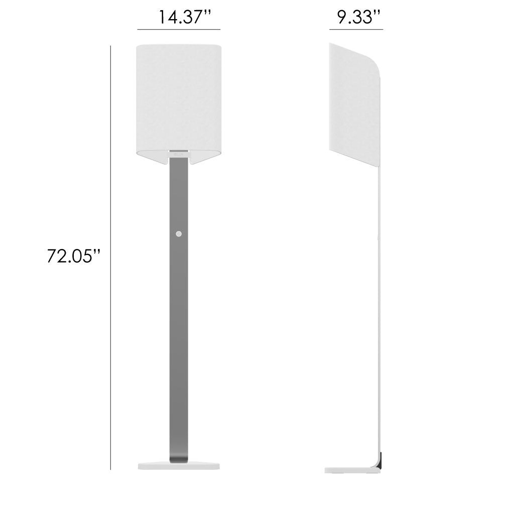 Front and side views of the Brushed aluminum Brooklyn LED Floor lamp showing dimensions