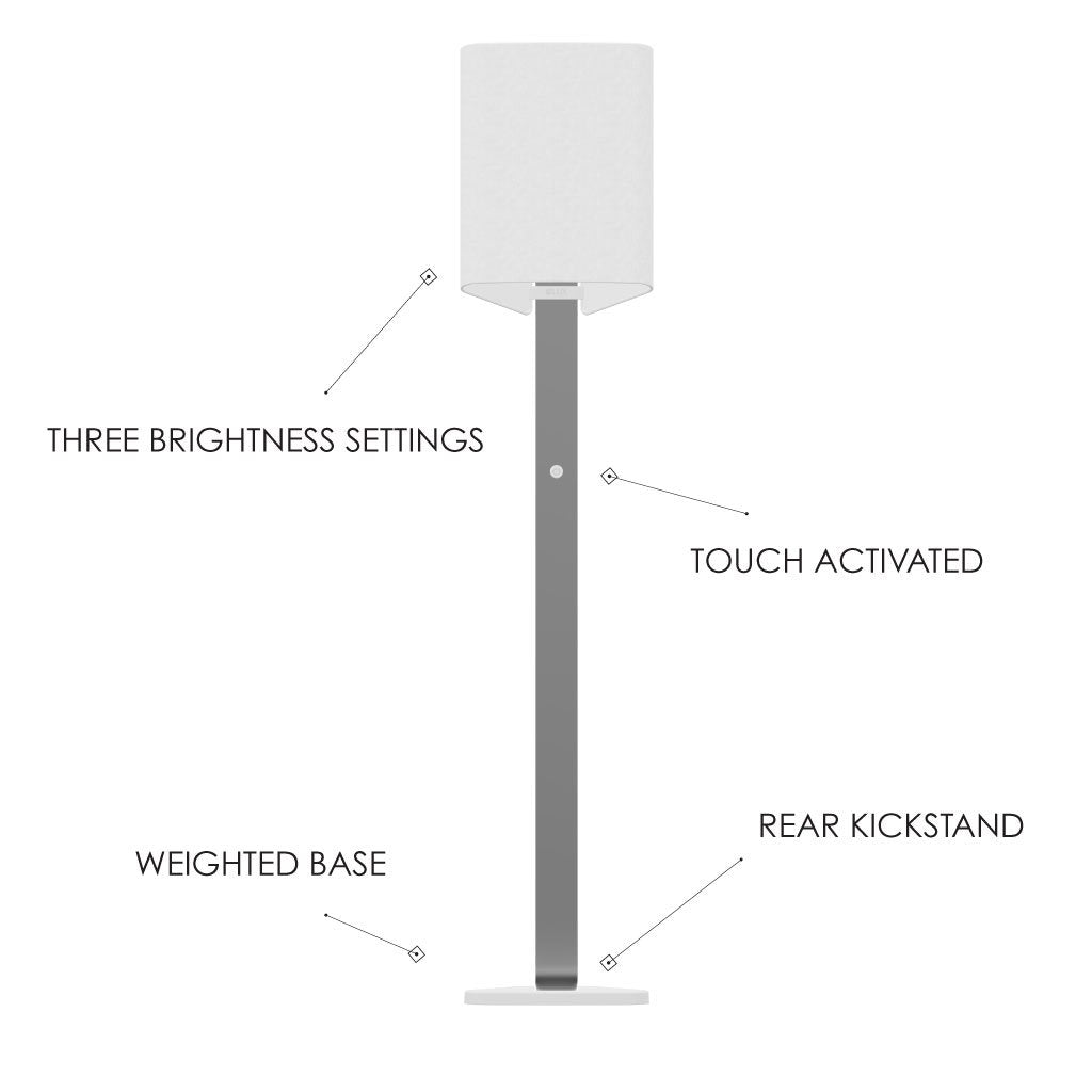 Diagram of features on Brooklyn LED FLoor lamp in brushed aluminum