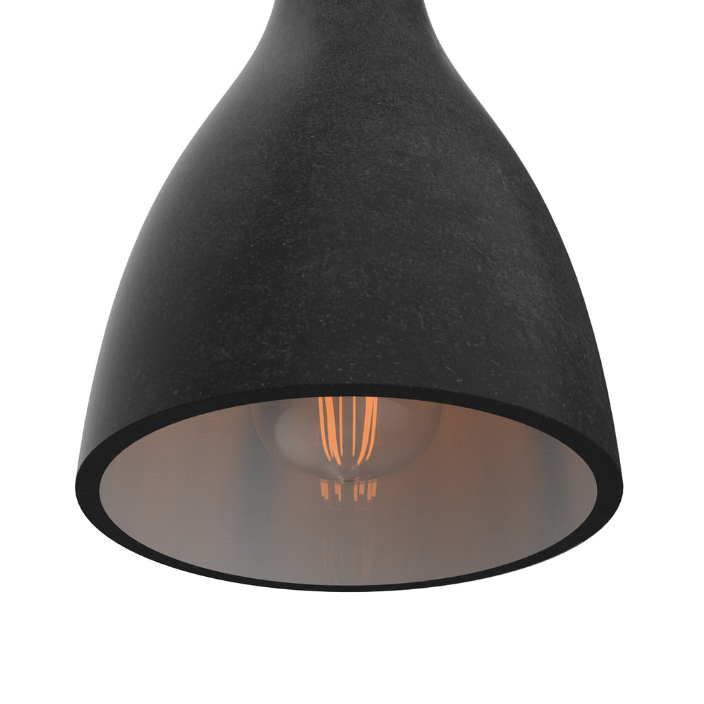 Close up side view of a charcoal La Brea LED pendant light