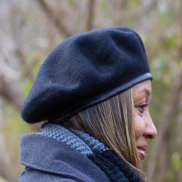 Satin Lined Wool Beret- Classic Style with Faux Leather Trim - Always Eleven