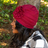 Satin Lined Beanie with Flower Adornment - Always Eleven