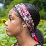 Satin Bandana Paisley Wrap Head Scarf Kerchief (3 Pack) (Navy, Red & Beige) - Always Eleven