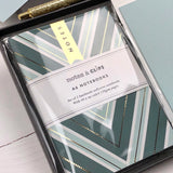 Stationery Box - Green Chevron