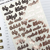 Rose Gold Foil Script Word Stickers - Notes & Clips