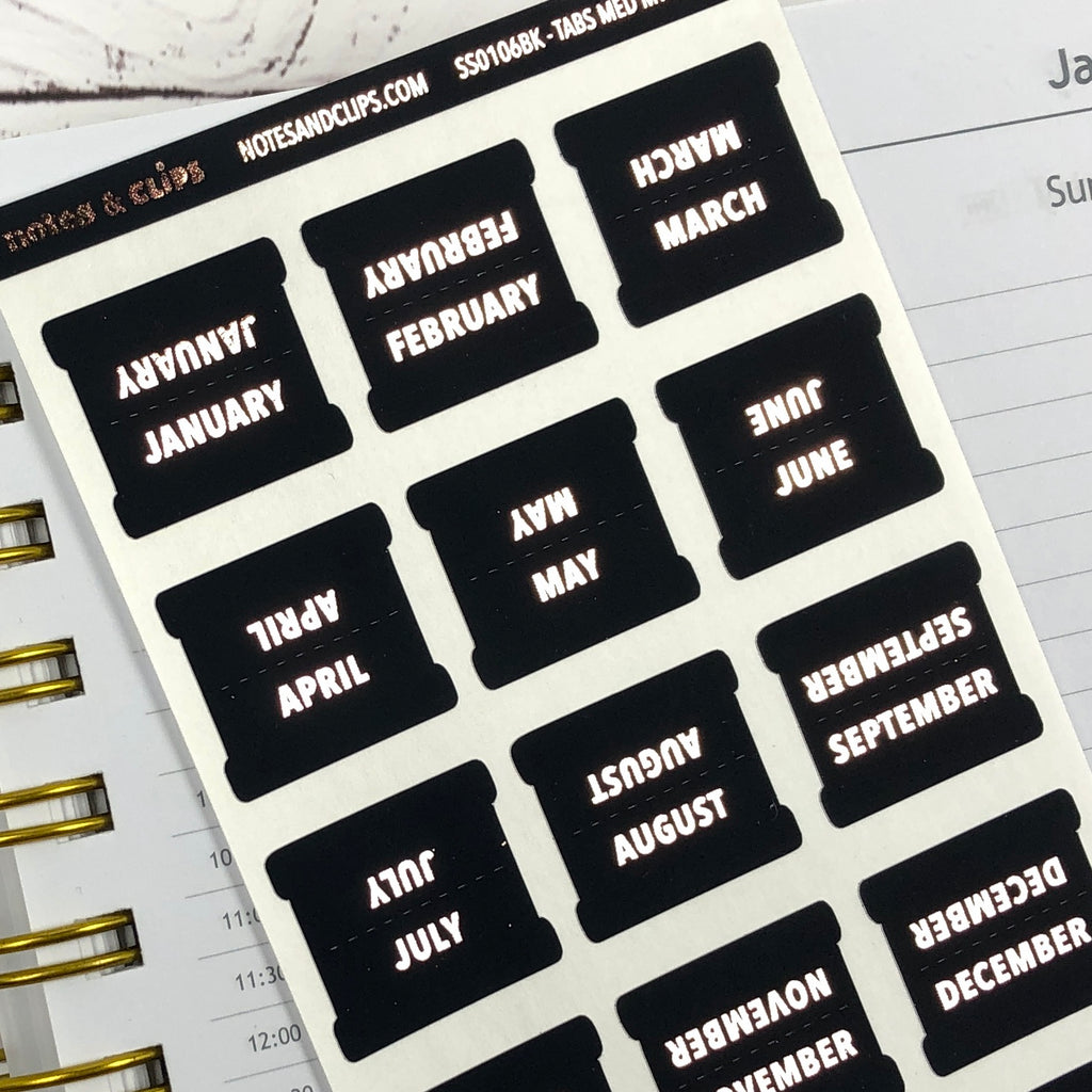 Black & Rose Gold Medium Monthly Tab Stickers - Notes & Clips