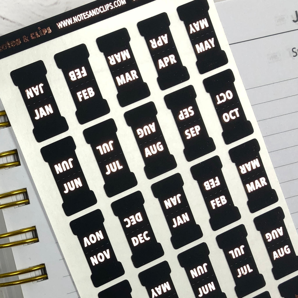 Black & Rose Gold Foil Small Monthly Tab Stickers - Notes & Clips
