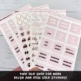 Blush and Rose Gold Foil Script Word Stickers - Notes & Clips