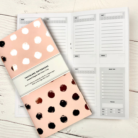 Standard Size WO2P Layout - Rose Gold Foiled Travelers Notebook Inserts