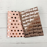 B6 Size WO2P Layout - Rose Gold Foiled Travelers Notebook Inserts