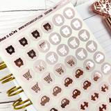 Blush and Rose Gold Foil Day to Day Stickers - Notes & Clips