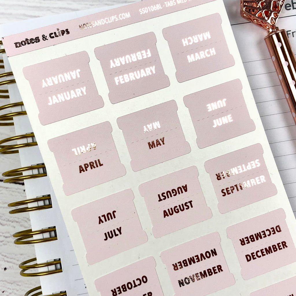 Blush & Rose Gold Medium Monthly Tab Stickers - Notes & Clips