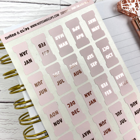 Blush & Foil Small Monthly Tab Stickers
