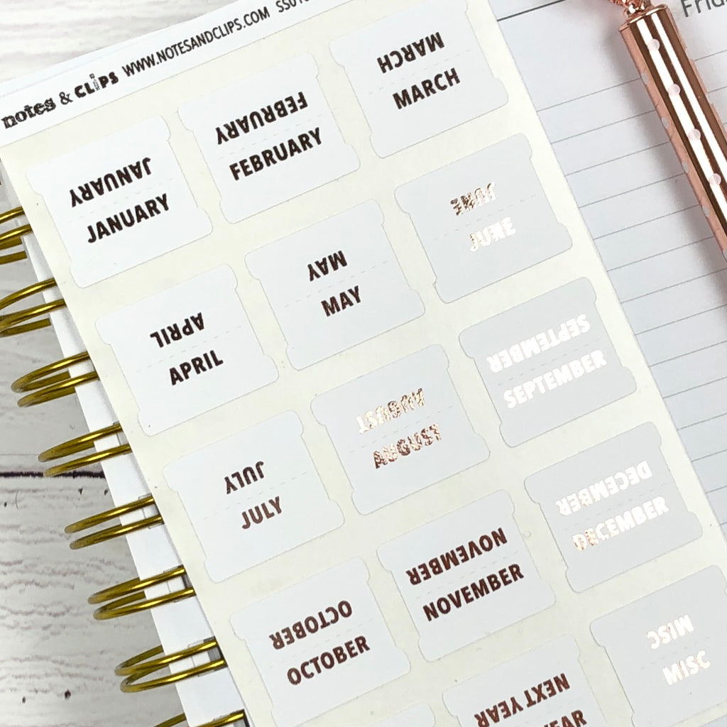 White & Rose Gold Medium Monthly Tab Stickers - Notes & Clips