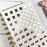 White and Rose Gold Foil Day to Day Stickers - Notes & Clips