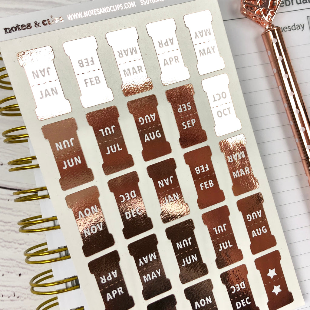 Rose Gold Small Monthly Tab Stickers - Notes & Clips