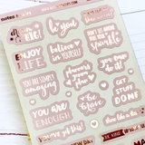 Blush and Rose Gold Foiled Motivation Stickers