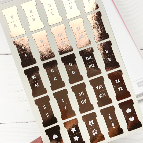 Foiled Alphabet Tab Stickers