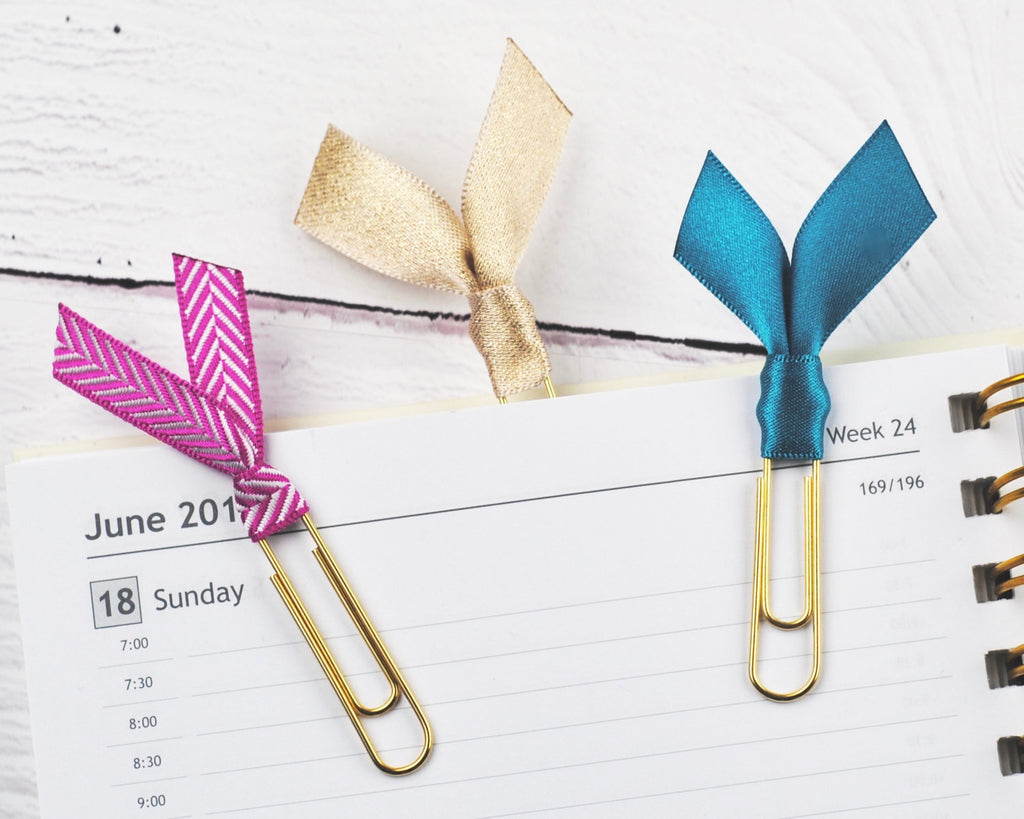 Fuchsia & Teal Ribbon Clips - Notes & Clips