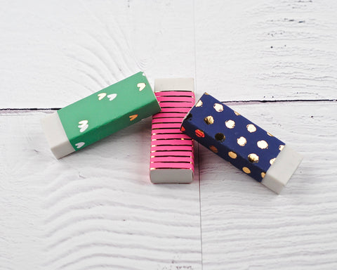 Navy, Pink and Green Erasers