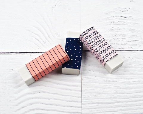 Blush and Navy Erasers