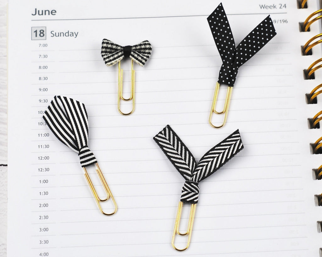 Black & White Ribbon Clips - Notes & Clips