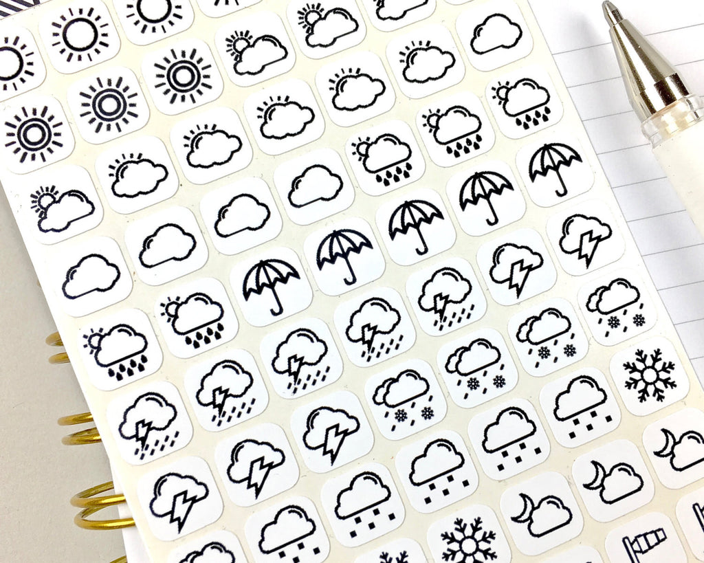 Weather Stickers - Mono - Notes & Clips