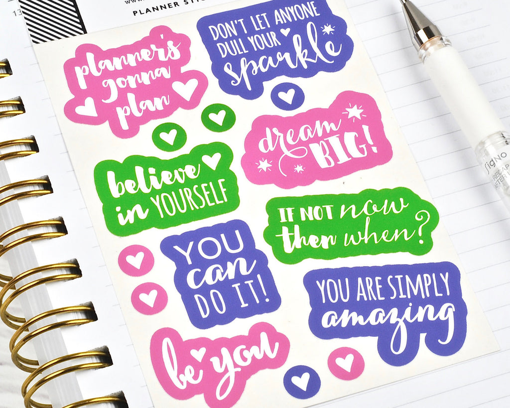Bright Motivation Stickers - Notes & Clips