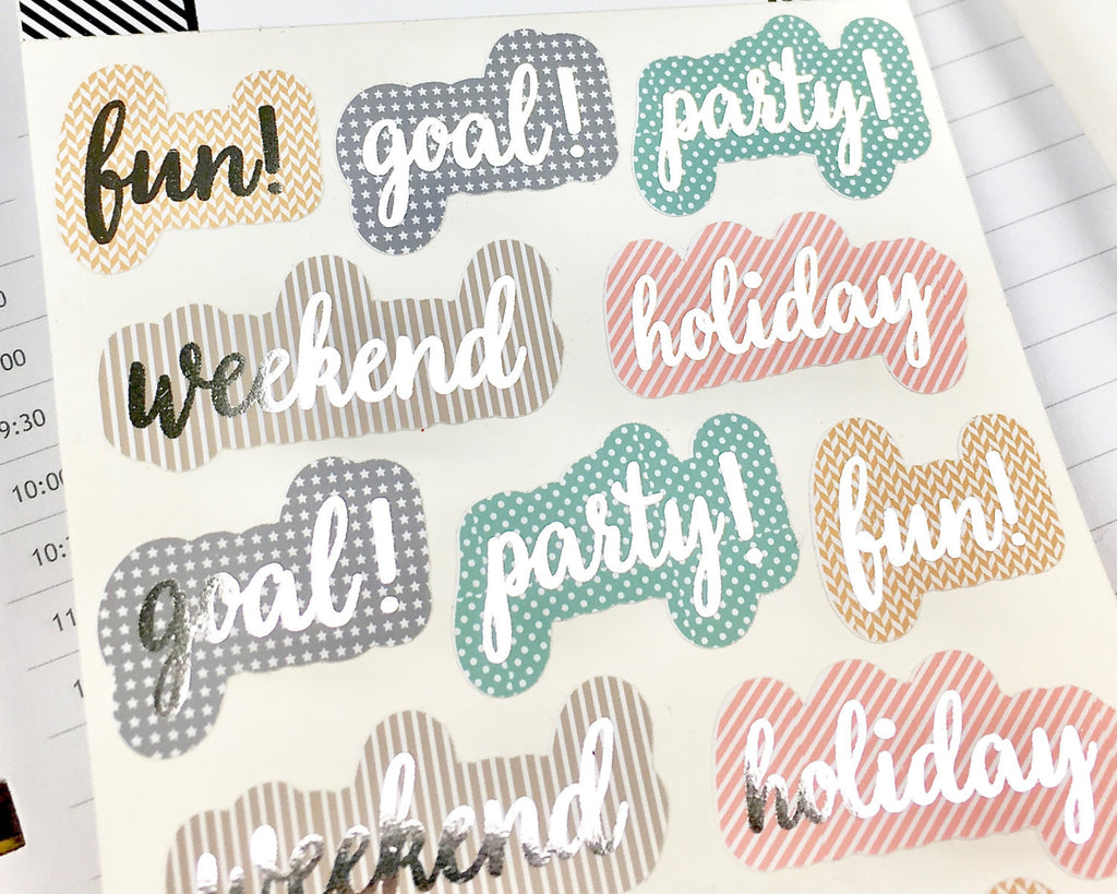 Foil Celebration Stickers - Notes & Clips