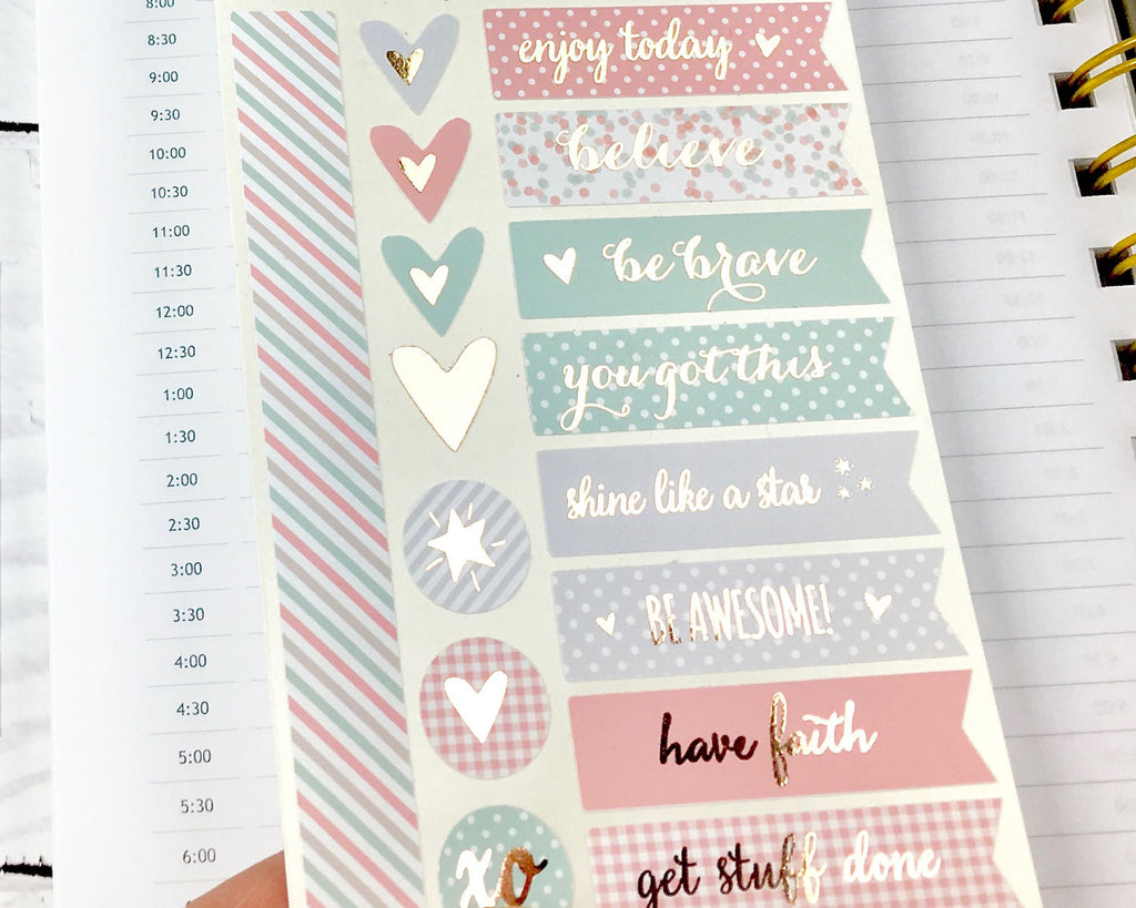 Inspirational Rose Gold Foil Stickers - Notes & Clips