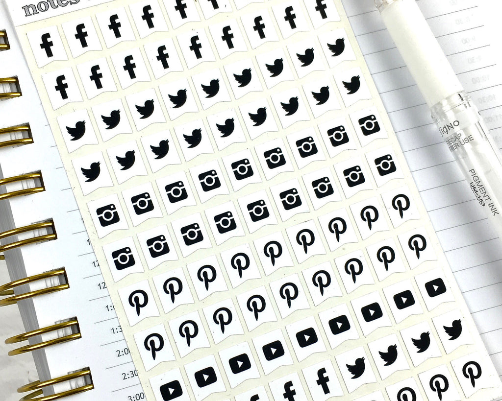 Social Media Stickers - Mono - Notes & Clips