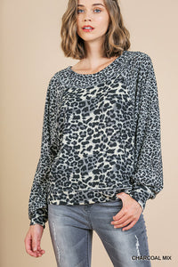 Round neck animal print top - ALL SIZES