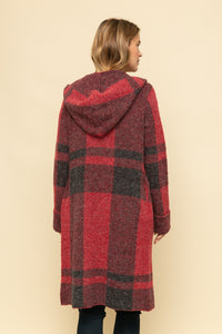 Plaid hooded sweater cardigan - red/black