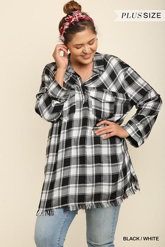 Plaid popover tunic with frayed hem - CURVY
