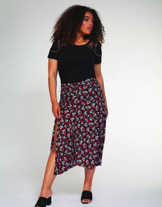 Floral print skirt with front slit - CURVY