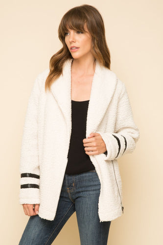 Fluffy bomber jacket with faux leather detail