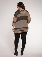 Camo print sweater with cami - CURVY