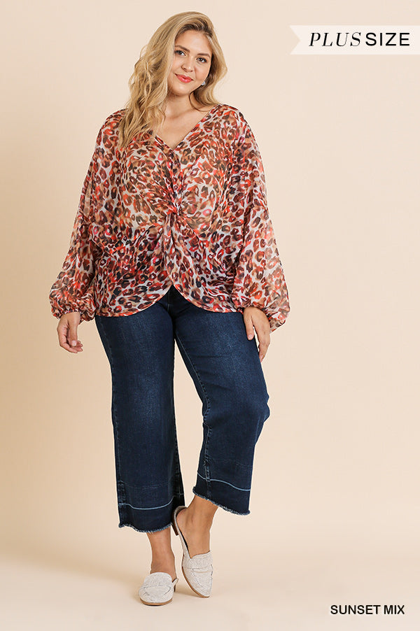Sheer v-neck top with front twist - CURVY