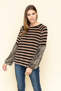 Stripe chenille knit top with velvet puff sleeves