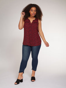 Sleeveless heart print top - CURVY