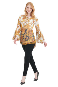 Golden Baroque Print Tunic Top