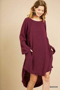 Long sleeve linen blend dress - ALL SIZES