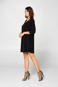 Round neck dress with front zipper detail