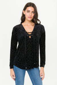 Black velvet top with front eyelet tie