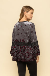Velvet floral print cardigan with bell sleeves