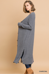 Waffle knit fleece sweater dress