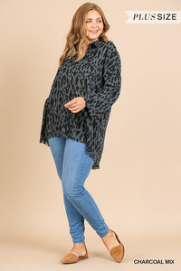 High-low animal print tunic with frayed hem - ALL SIZES